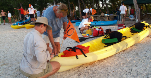 preparing a kayak